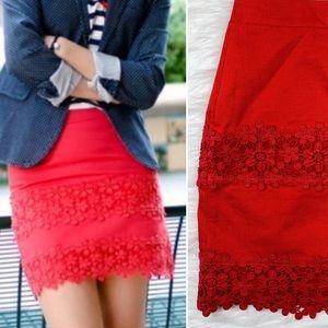 J. Crew | Cotton Scalloped Lace Floral Mini Skirt